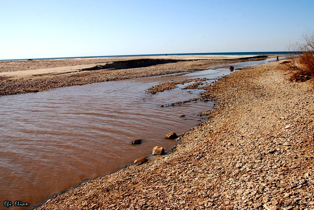 שפך הנחל למי הים התיכון.