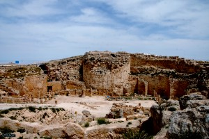 מבט מדרום לעבר המגדל הצפוני ושטח הארמון