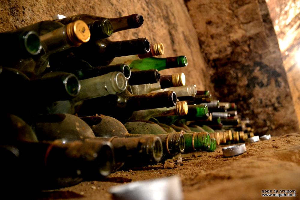 בקבוקי יין לתצוגה במרתפי היקב של בית הספר מקוה ישראל