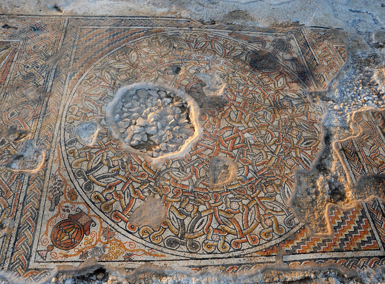 הפסיפס שהתגלה בחפירות בבית קמה - צילום: יעל יולוביץ, באדיבות רשות העתיקות