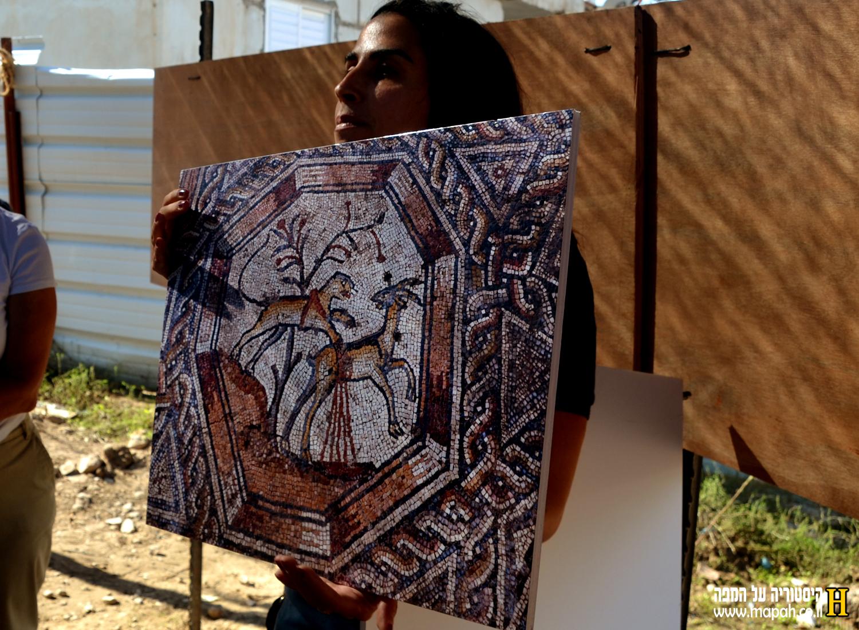 מדריכה מטעם רשות העתיקות מציגה את עיצובי הפסיפס - צילום: אפי אליאן