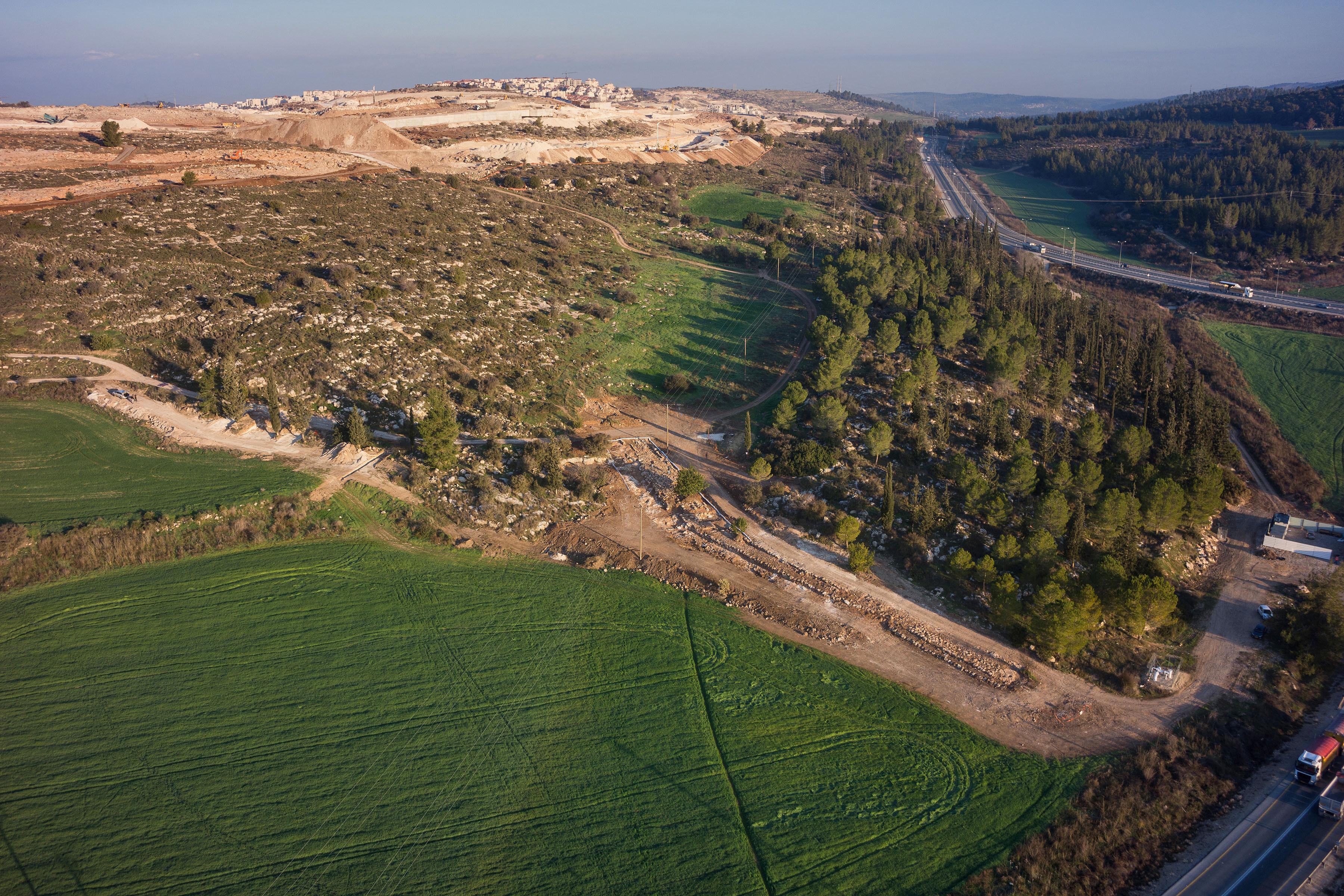 צילום אווירי של הדרך. קרדיט: חברת גריפין צילום אוירי