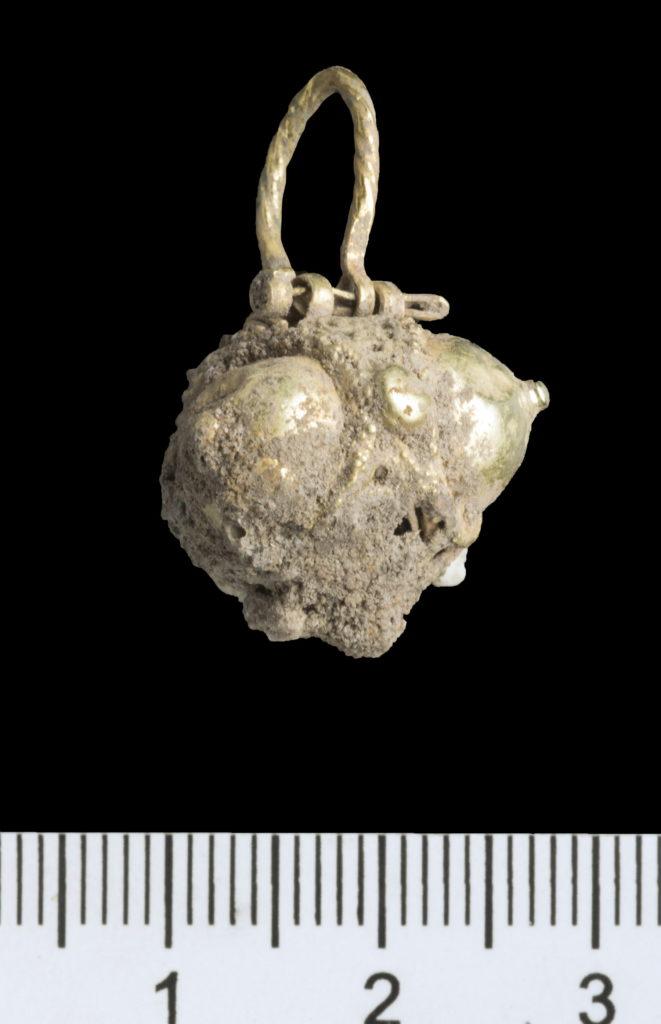 העגיל. צילום: קלרה עמית, רשות העתיקות
