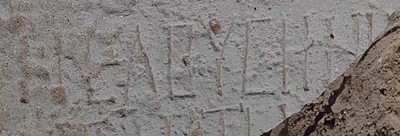 הכתובת שנחשפה באתר, הנושאת את השם חלוצה. צילום: טלי גיני