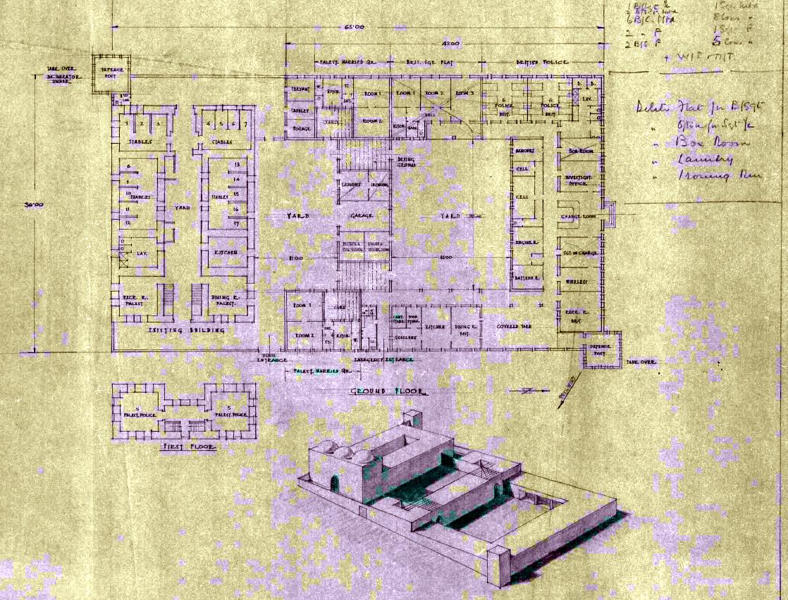 אחת מהתוכניות שהוכנו לבניית משטרת הג'יפתליק. מתוארך ל-9 באפריל 1940 (מתוך ארכיון המדינה)