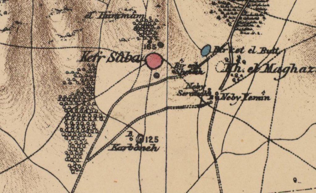 """היישוב כפר סבא במפת PEF 1880 - מתוך """"עמוד ענן"""""""