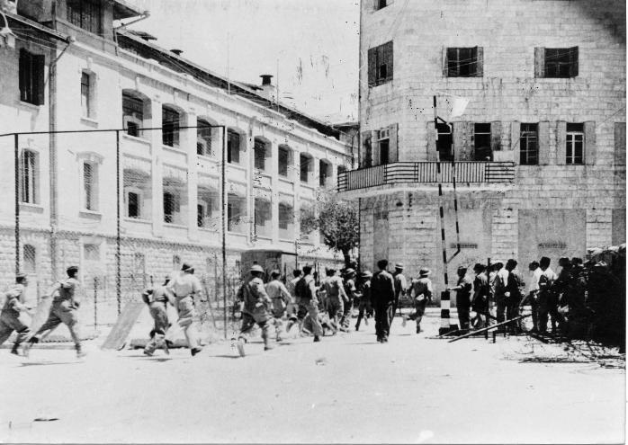 """בניין ג'נרלי לאחר השתלטות האצ""""ל על המבנה במסגרת מבצע קלשון: מקור   Palmach Archive Harel"""