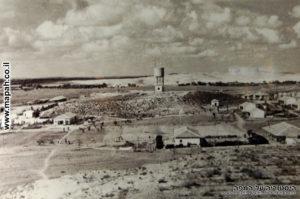 קיבוץ יד מרדכי בשנות ארבעים ובמרכזו מגדל המים - רפרודוקציה מוזיאון יד מרדכי