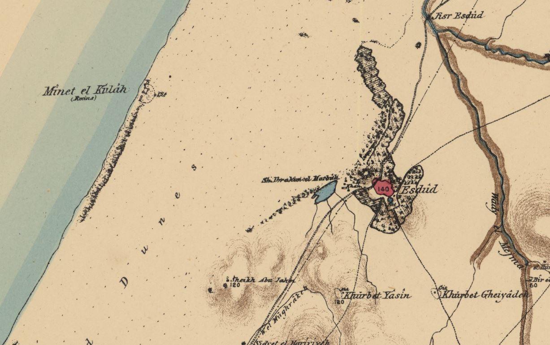 כפר איסדוד הסמוך לגשר - צילום מפת PEF1880