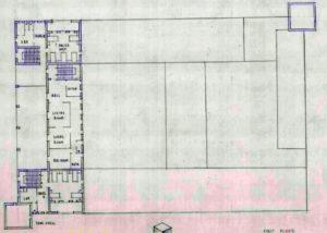 הקומה השניה של המבנה בתרשים המקורי של שרטוטי מבנה המשטרה מטולה כפי שבוצעו על ידי טיגארט - מקור: ארכיון גנזך המדינה