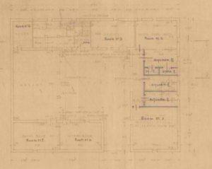 תרשים קומת קרקע מיצדית גדר הצפון - מקור: ארכיון גנזך המדינה