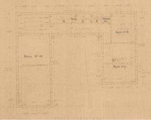 תרשים הקומה השניה מיצדית גדר הצפון - מקור: ארכיון גנזך המדינה
