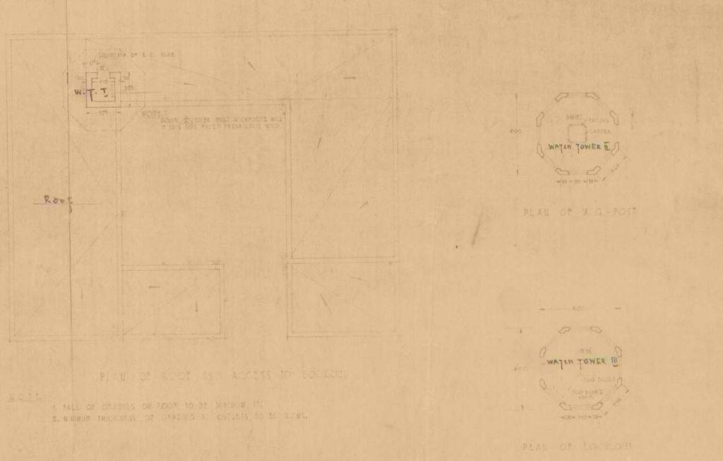 תרשים מגדל התצפית מיצדית גדר הצפון - מקור: ארכיון גנזך המדינה