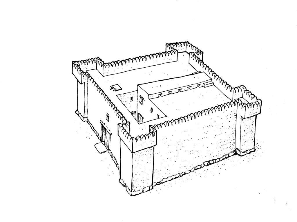 תרשים  המצודה בגלאון. צייר איתמר וייסביין