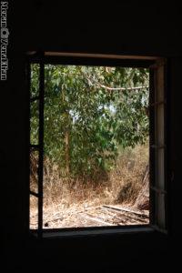 חלון שנפתח בגובה קרקע בבניין צפוני משטרת גוברין - צילום: מורן יונה אליאן