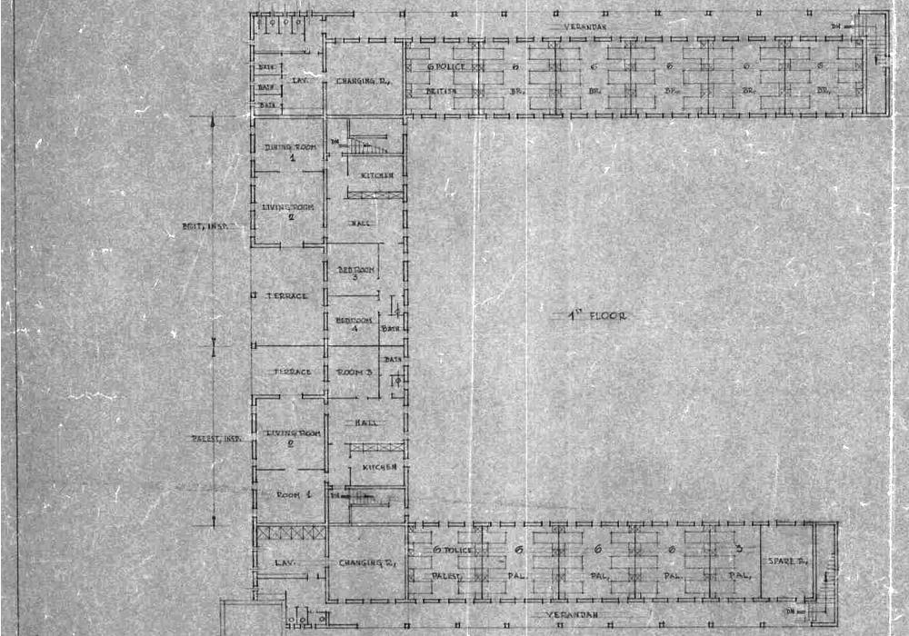 שרטוט קומת עליונה משטרת ג'יברין (בית גוברין) טגארט 4 - מקור: ארכיון המדינה