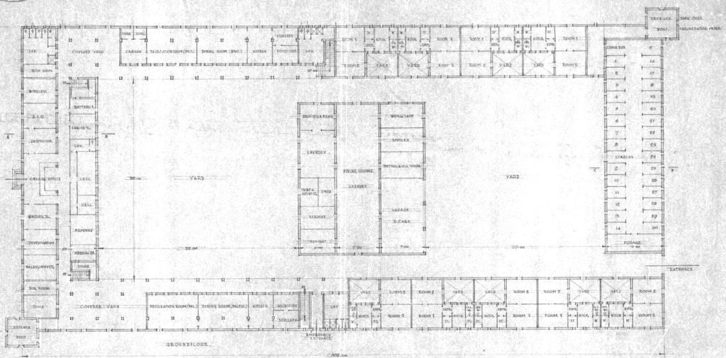 שרטוט קומת הקרקע משטרת ג'יברין (בית גוברין) טגארט 4 - מקור: ארכיון המדינה