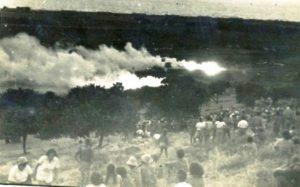 אש בשדות גן שמואל במהלך מאורעות המרד הערבי הגדול - באדיבות: ארכיון גן שמואל