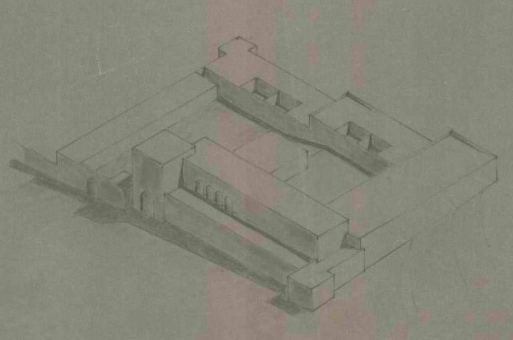 """סקיצה של משטרת אבו גוש לאחר השדרוג למצודת טיגארט - מקור: ארכיון המדינה (גנזך המדינה) ארכיון מע""""צ"""