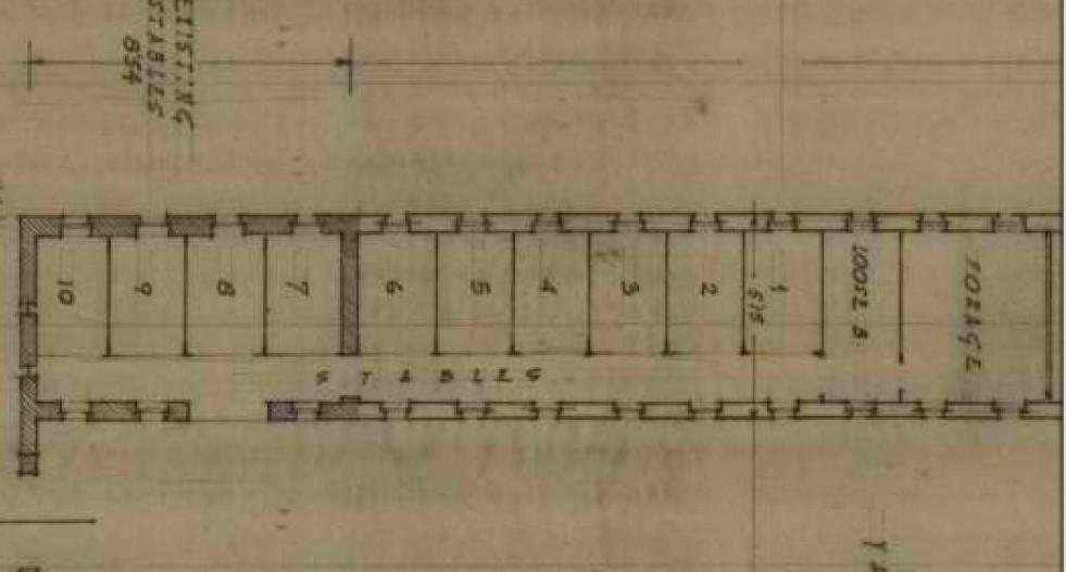 """תרשים מבנה האורווה המשולב - משטרת אבו גוש - מקור: ארכיון המדינה / ארכיון מע""""צ"""