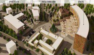"""בית המלון, בניין העירייה החדש ומצודת הטיגארט באבו גוש - הדמייה באדיבות גיאו בן גור אדריכלות בע""""מ"""